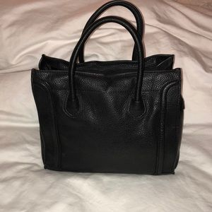 Neiman Marcus Sawyer Pebbled Seamed Tote Bag Blk
